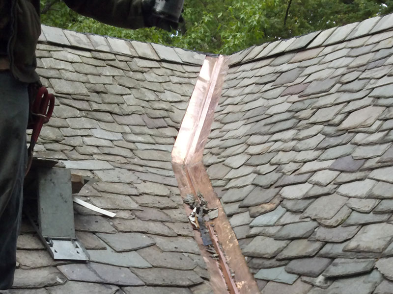 Copper valley and slate roof repairs on Summit, NJ
